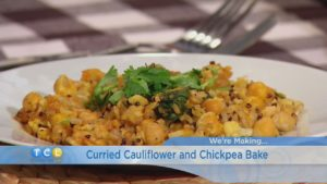 Curried Cauliflower and Chickpea Bake