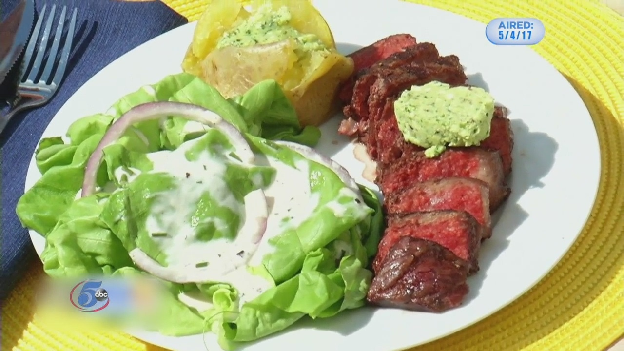 Grilled Buffalo Steak with Blue Cheese Ramp Butter